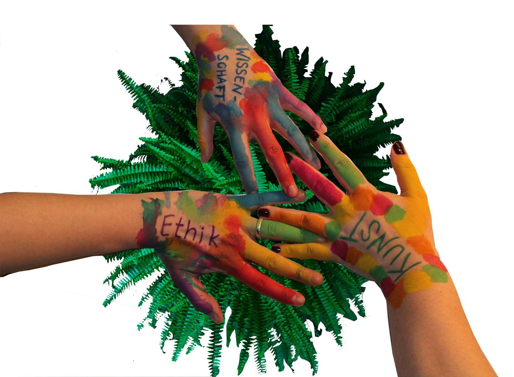 Bemalte Hände- Wir vereinen Wissenschaft Ethik und Kunst