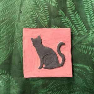 Fliese mit Engobe bemalt - Motiv Katze