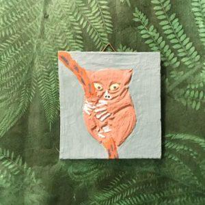 Fliese mit Engobe bemalt - Motiv Koboldmaki