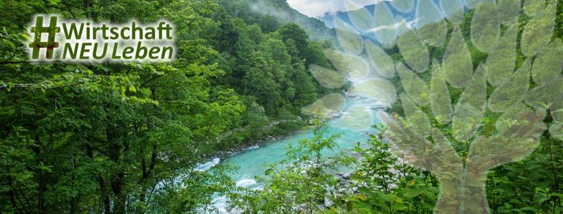 Laneschaft mit Fluss Banner für Kampagne Wirtschaft neu leben