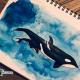 Orca-Mutter mit Kalb gemalt Aquarell