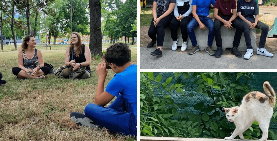 Ehrenamtswoche Wien Fotokolage - Praterkatzen und Schüler*innen